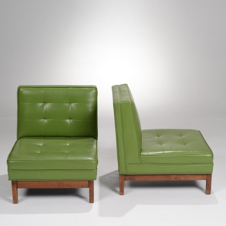 Wormley Style Green Slipper Chairs For Sale 1