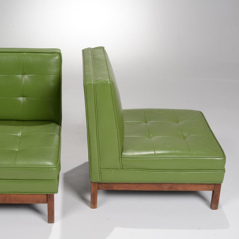 Wormley Style Green Slipper Chairs For Sale 2