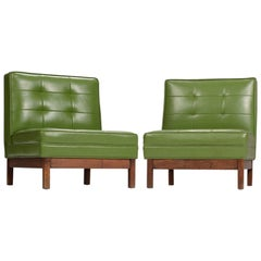Wormley Style Green Slipper Chairs
