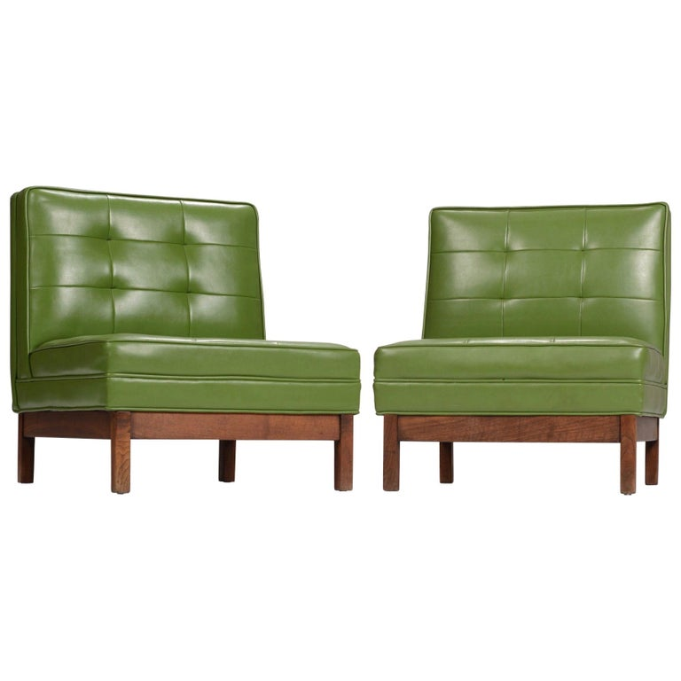 Wormley Style Green Slipper Chairs For Sale