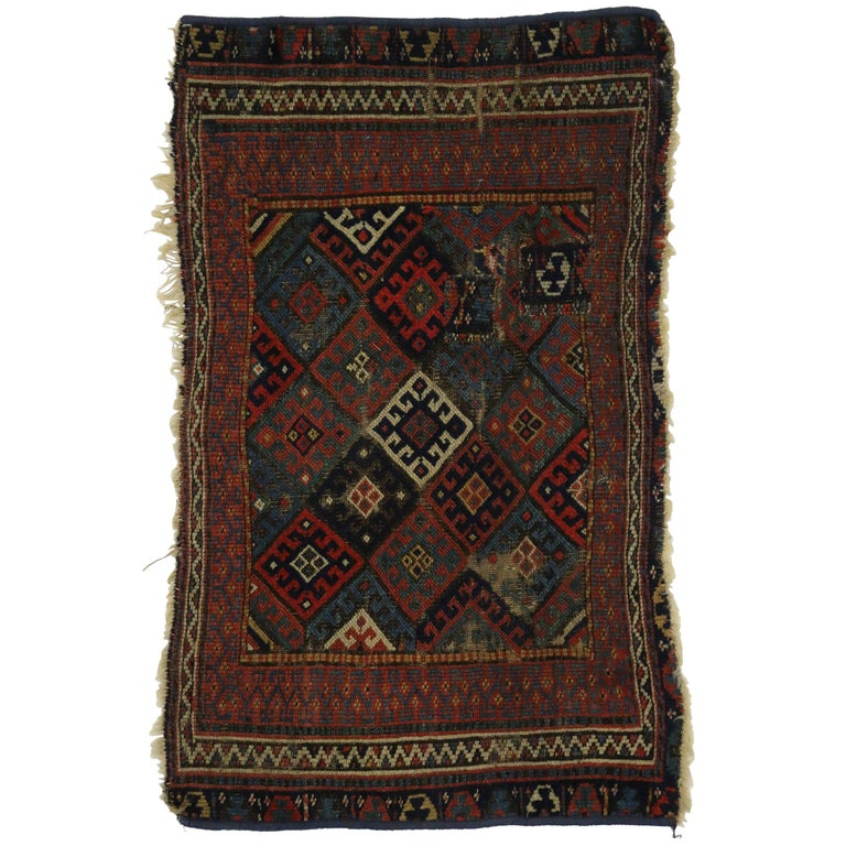 Worn Antique Caucasian Kazak Rug With Tribal Style, Small
