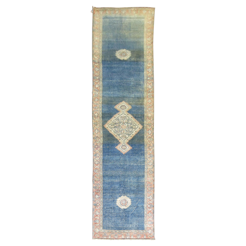 Worn Blue Antique Persian Runner