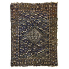 Worn-In Distressed Antique Persian Shiraz Accent Rug with Adirondack Lodge Style