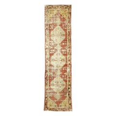 Worn-In Distressed Vintage Turkish Oushak Runner with Rustic Lodge Style
