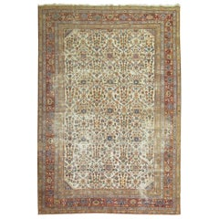 Worn Persian Room Size Oriental Early 20th Century Rug
