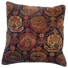 Worn Persian Tribal Square Size Rug Pillow