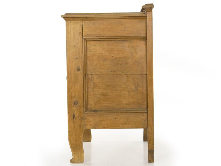 Hand-Crafted Worn Pine Antique Hall Bench Armchair with Storage For Sale