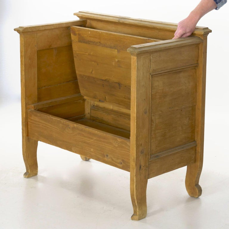 Worn Pine Antique Hall Bench Armchair with Storage For Sale 2