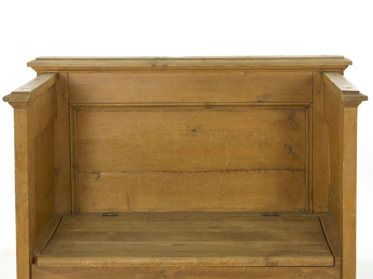 Worn Pine Antique Hall Bench Armchair with Storage For Sale 3