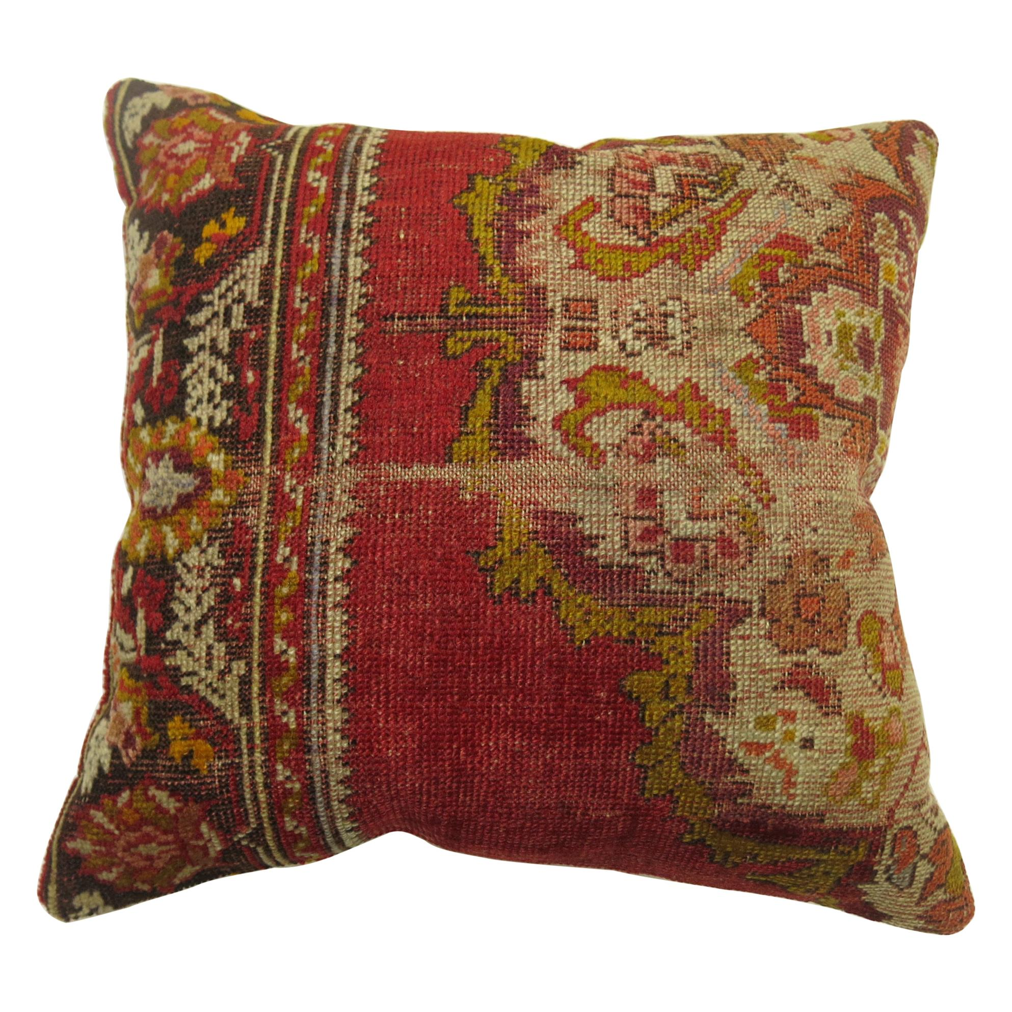 Worn Red Traditional Turkish Rug Pillow
