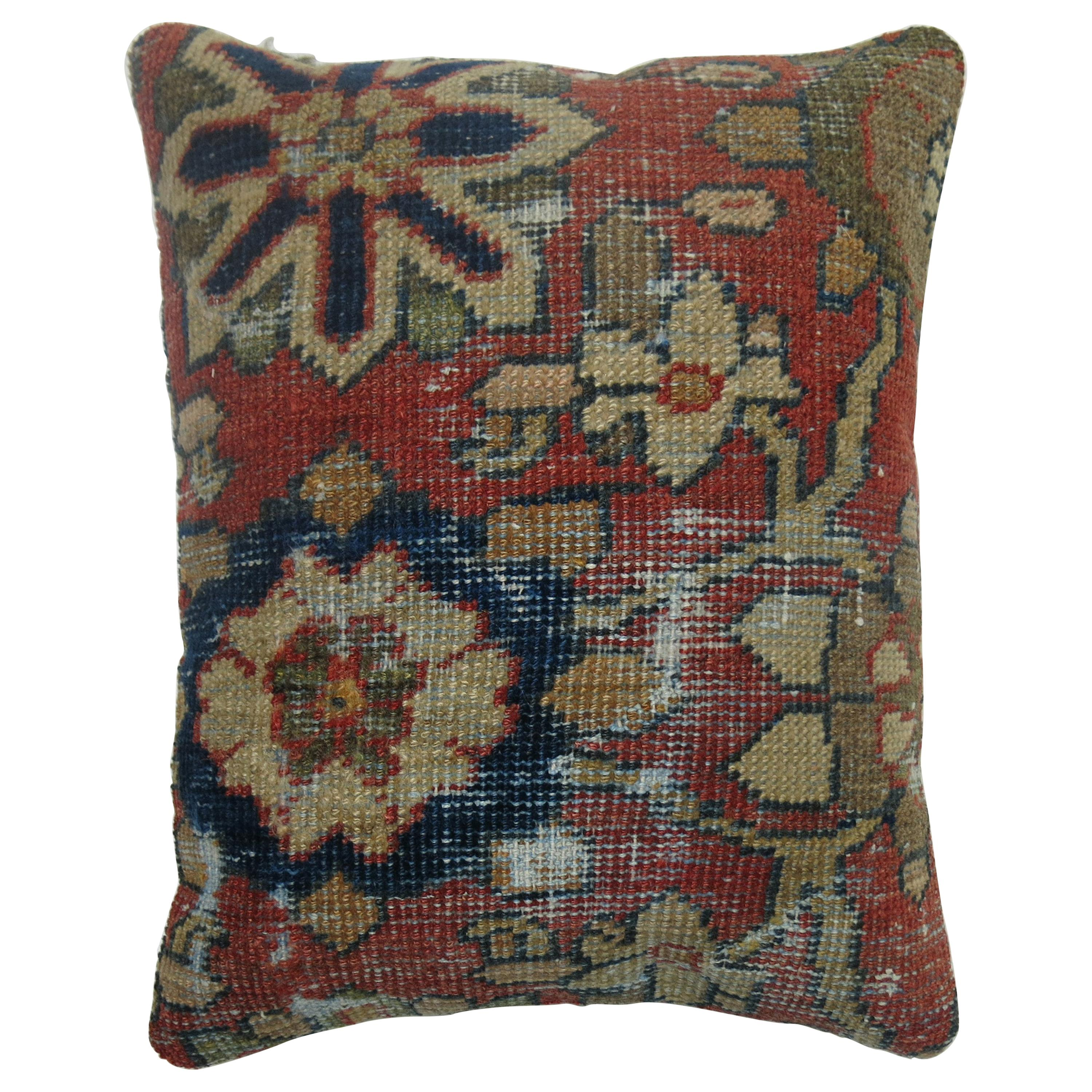Worn Sultanabad Persian Rug Pillow