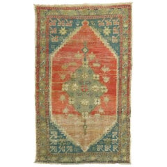 Worn Turkish Throw Rug