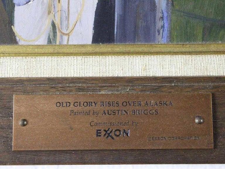 Old Glory Rises Over Alaska  - Purple Figurative Painting by Worth Brehm