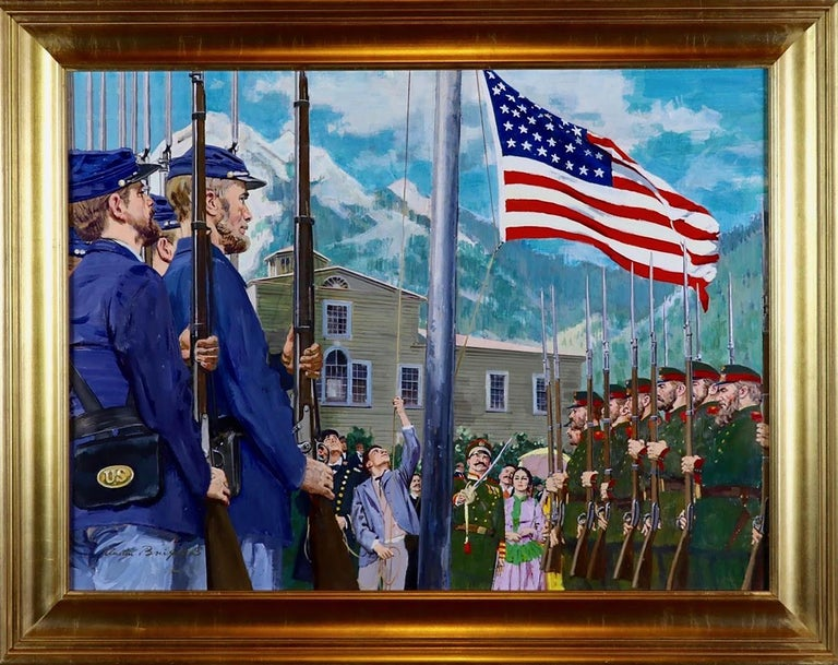 Old Glory Rises Over Alaska  - Painting by Worth Brehm