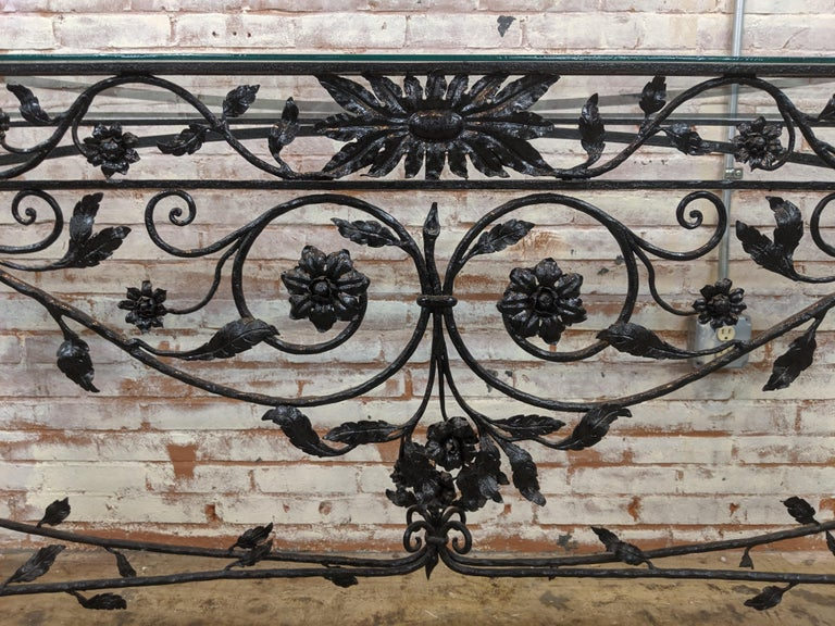 American Wought Iron Console Table For Sale