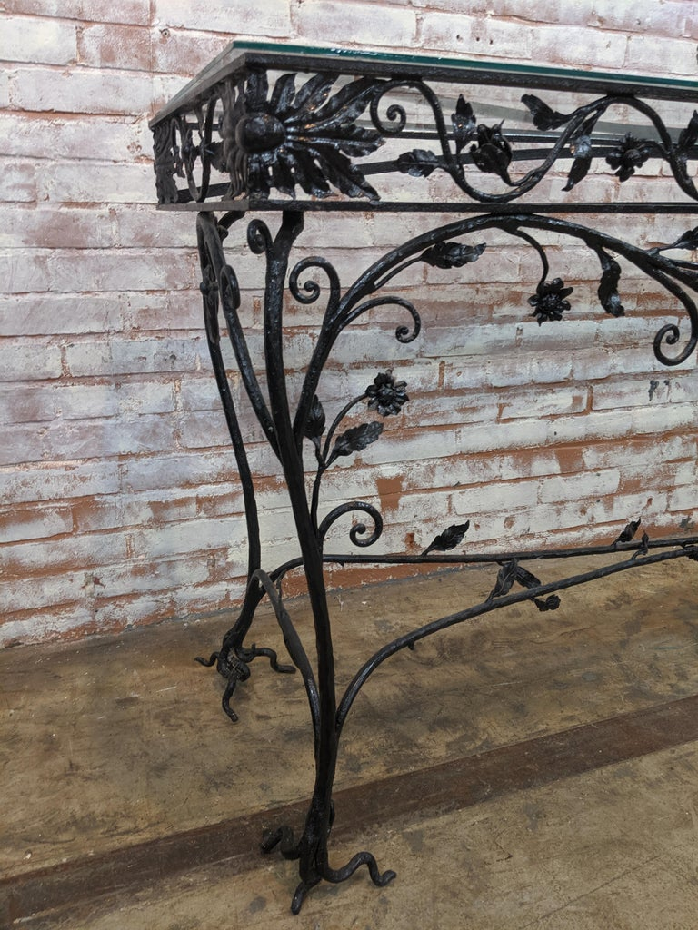 Wought Iron Console Table In Good Condition For Sale In Stamford, CT