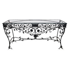 Unusual 20th c ornate Wrought Iron Console Table with flowers and leaves