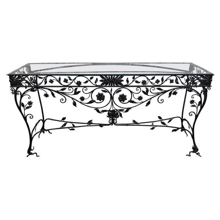 Wought Iron Console Table For Sale