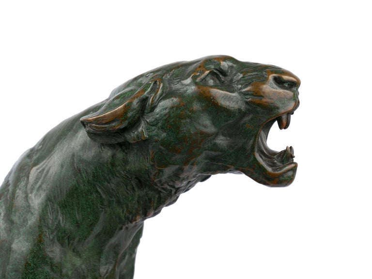 """""""Wounded Lioness"""" French Antique Bronze Sculpture by Charles Valton For Sale 6"""