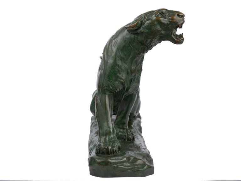 """""""Wounded Lioness"""" French Antique Bronze Sculpture by Charles Valton For Sale 1"""