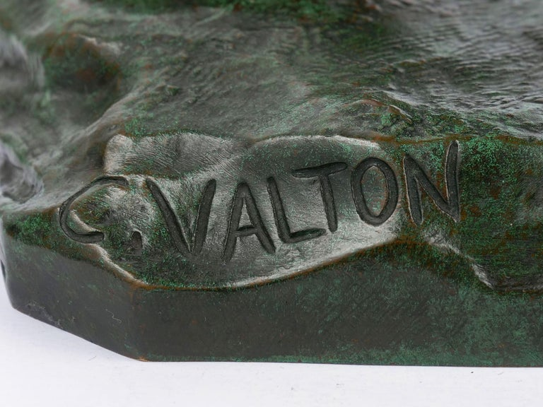 """""""Wounded Lioness"""" French Antique Bronze Sculpture by Charles Valton For Sale 5"""