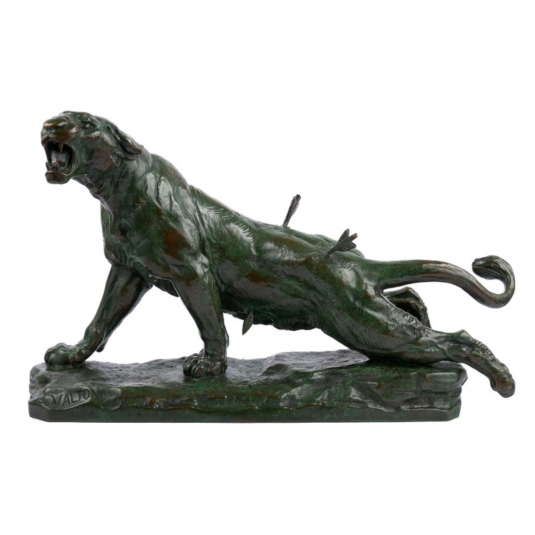 """""""Wounded Lioness"""" French Antique Bronze Sculpture by Charles Valton For Sale"""