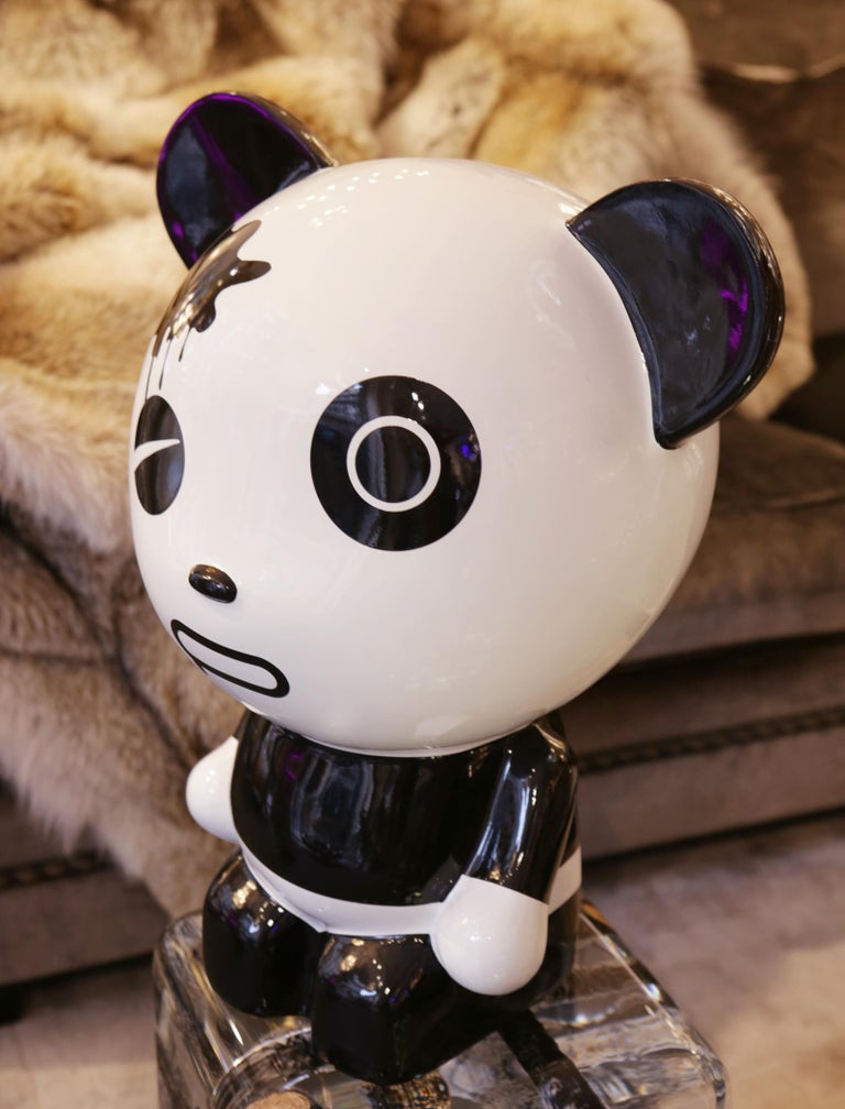 Chinese Wounded Panda Sculpture by Jiji For Sale