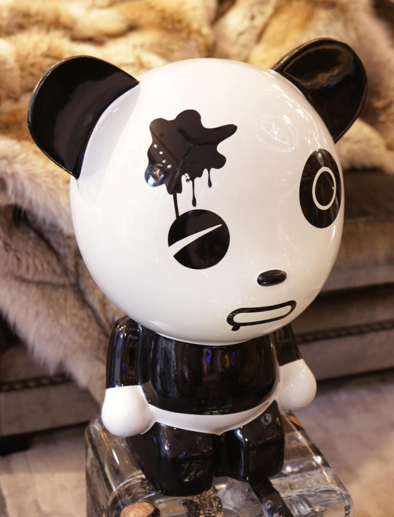 Lacquered Wounded Panda Sculpture by Jiji For Sale