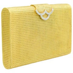 Woven 18 Karat Gold and Diamond Evening Clutch