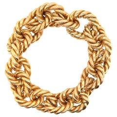 Woven 18 Karat Yellow Gold Link Bracelet 72.9 Grams