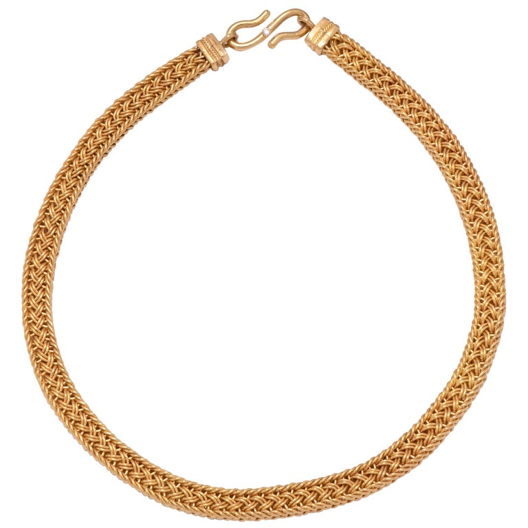 Woven 22 Karat Gold Necklace For Sale at 1stdibs