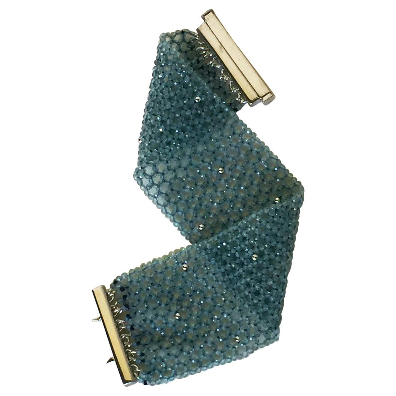 Marina J. Woven Aquamarine & 14K Gold Cuff Bracelet with Sterling Silver Clasp