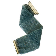 Woven Aquamarine and 14 Karat Gold Cuff Bracelet with Sterling Silver Clasp