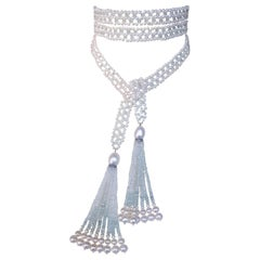 Woven Aquamarine and Pearl Sautoir Necklace with Tassels and 14 Karat White Gold