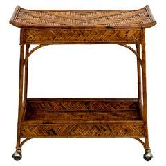 Woven Bamboo Bar Cart on Castors
