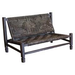 Woven Bench by Audoux-Minet, France, 1940s