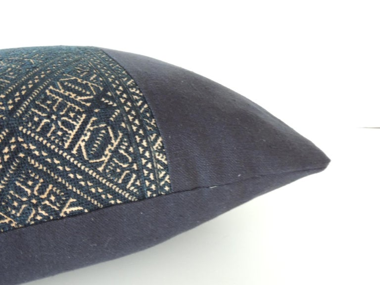 Tribal Woven Black and Indigo Fez Textile Lumbar Decorative Pillow For Sale