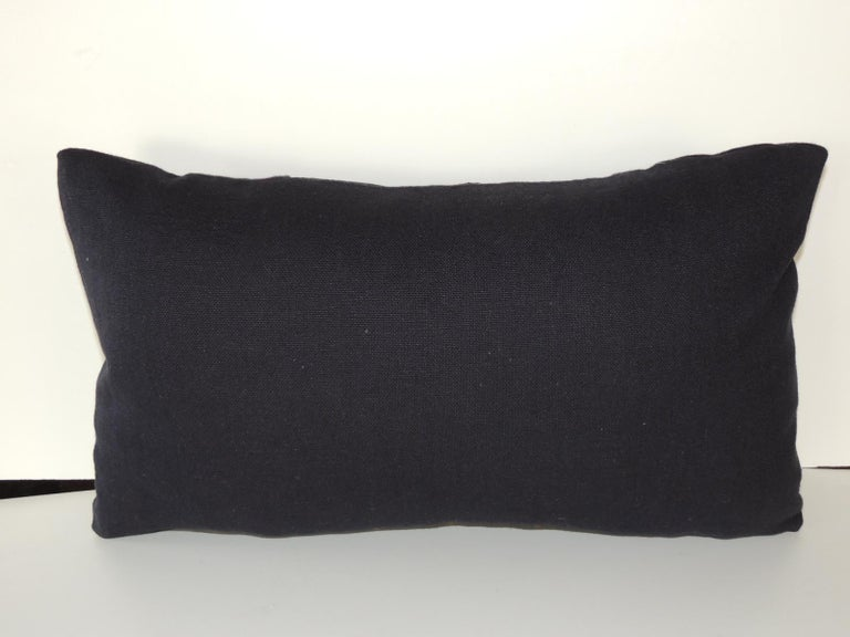 Moroccan Woven Black and Indigo Fez Textile Lumbar Decorative Pillow For Sale