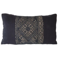 Woven Black and Indigo Fez Textile Lumbar Decorative Pillow