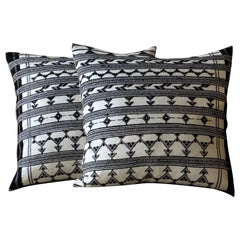 Woven Black and White Pillow Made from Antique Textiles