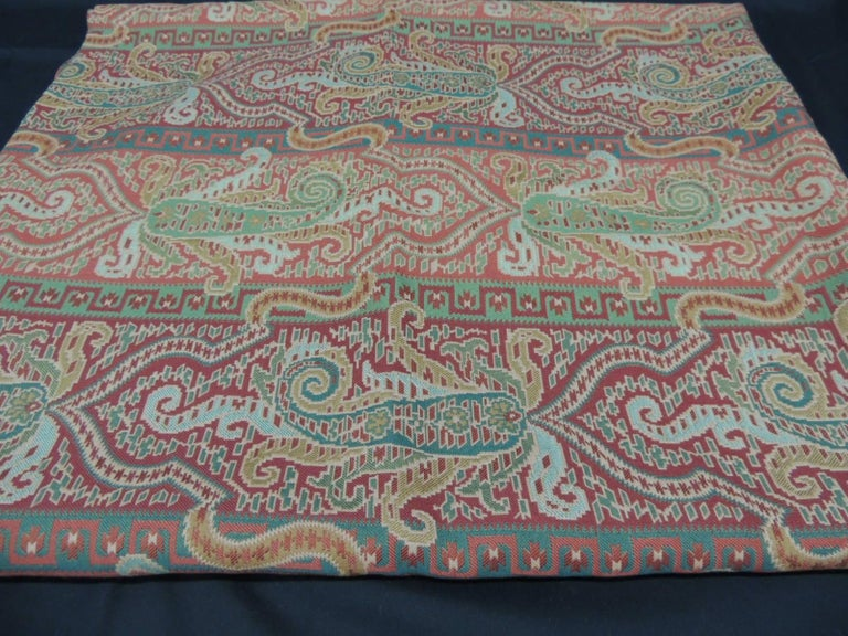 Woven Red and Green Brunschwig & Fils Paisley Woven Fabric.
