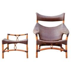 Woven Cane Bamboo Lounge Chair Yuzuru Yamakawa C, 261 Yamakawa Rattan