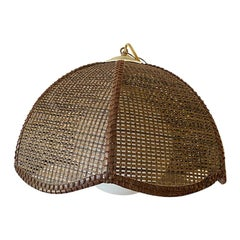 Woven Cane or Wicker Swag Pendant with Globe Light