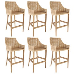 Woven Cane Rattan and Teak Wooden Set of Six Bar Stools