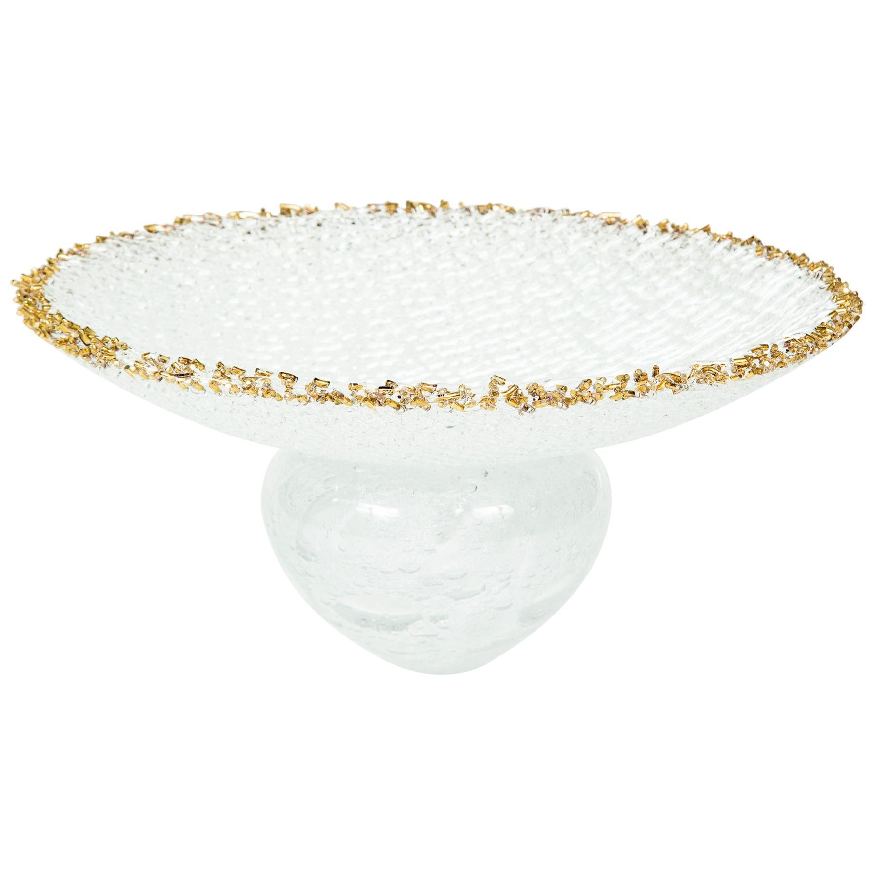 Woven Chalice, a Unique clear Glass Centrepiece / Sculpture by Cathryn Shilling