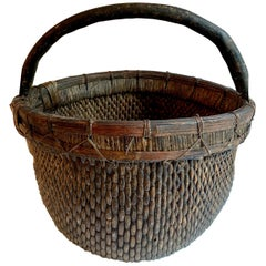 Woven Chinese Willow Basket with Handle