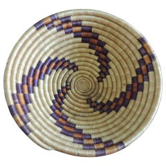 Woven Coil Round Orange and Purple Basket