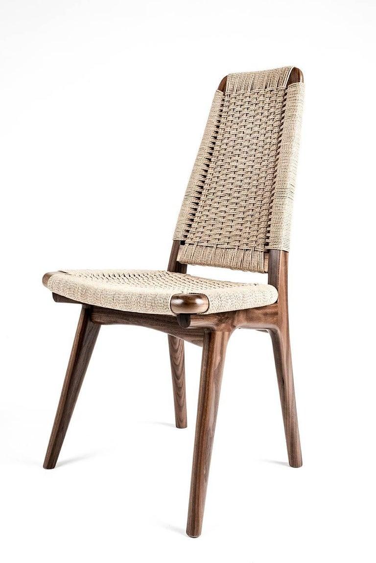 Mid-Century Modern Chair, Woven Danish Cord, Walnut, Hardwood, Mid Century, Dining, Office,Semigood For Sale