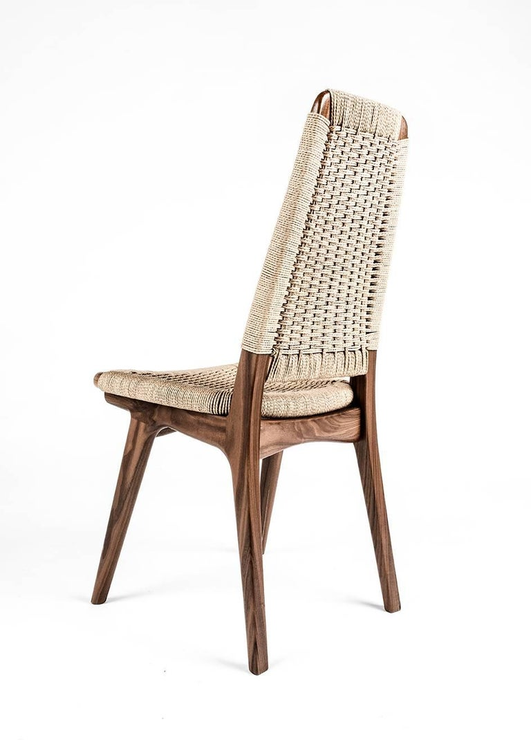 Hand-Crafted Chair, Woven Danish Cord, Walnut, Hardwood, Mid Century, Dining, Office,Semigood For Sale