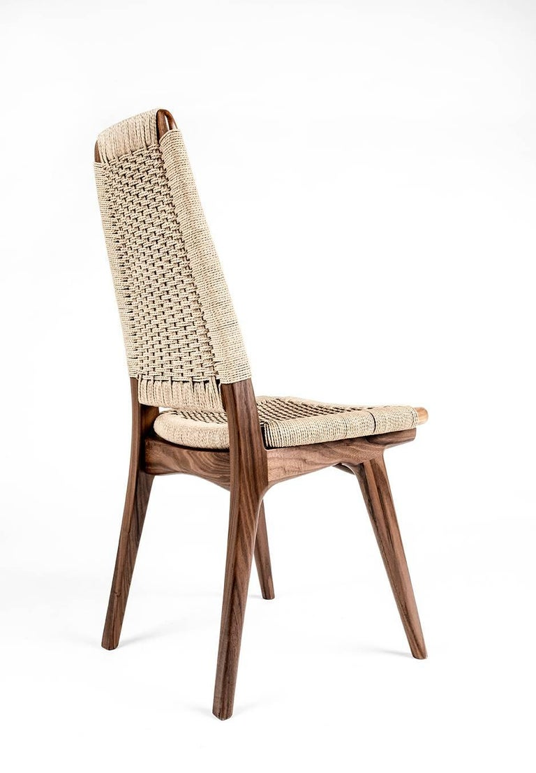 Contemporary chair woven danish cord walnut hardwood mid century dining